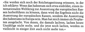 Hitler Rede Ausrottung des Judentums