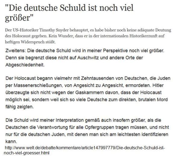 Snyder deutsche Schuld