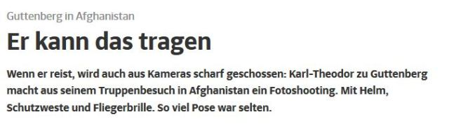Guttenberg Fotoshooting Afghanistan brillant