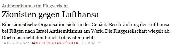Zionisten bezichtigen Lufthansa AS