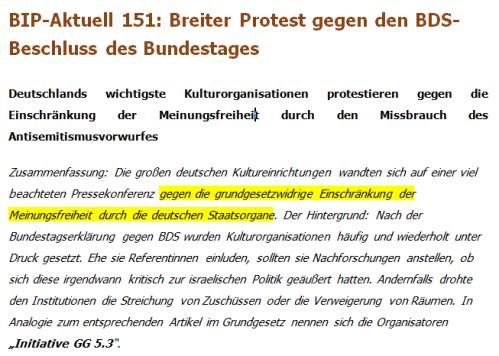BDS Resolution Bundestag grundgesetzwidrig
