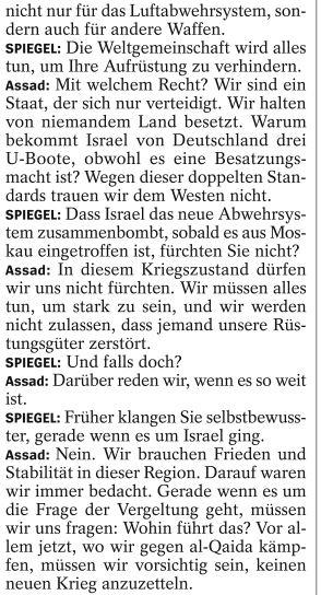 Assad über Israel