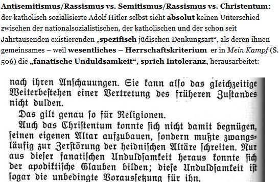 Hitler Intoleranz jüdische Denkart