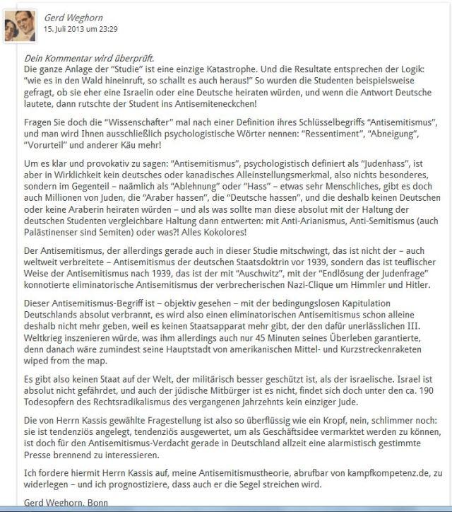 Leserbrief Kassis osnabrücker Studie
