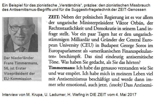 Timmermans Soros und Antisemitismus