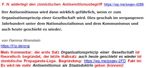 Antisemitismus-Begriff von F. Nirenstein
