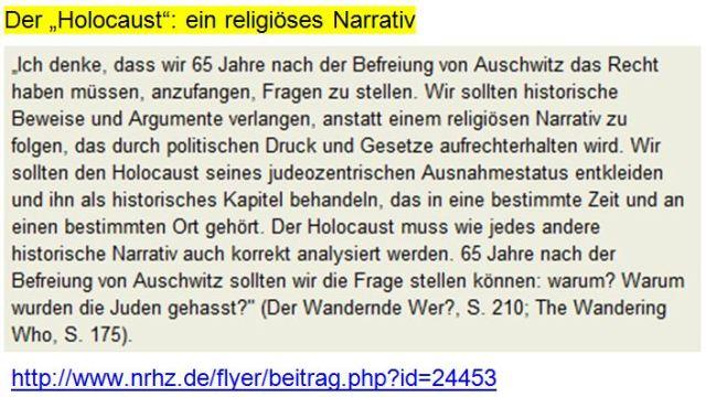 Atzmon Holocaustleugnung religiöses Narrativ