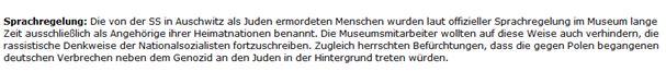 Auschwitz Sprachregelung Juden = Polen