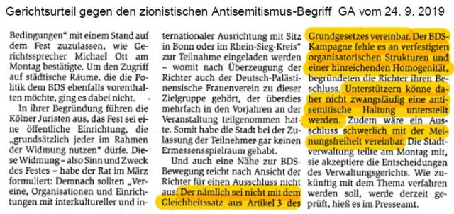 BDS kein Ismus GA 190924
