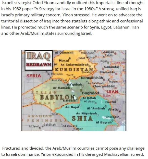 Irak divide et parte Israel