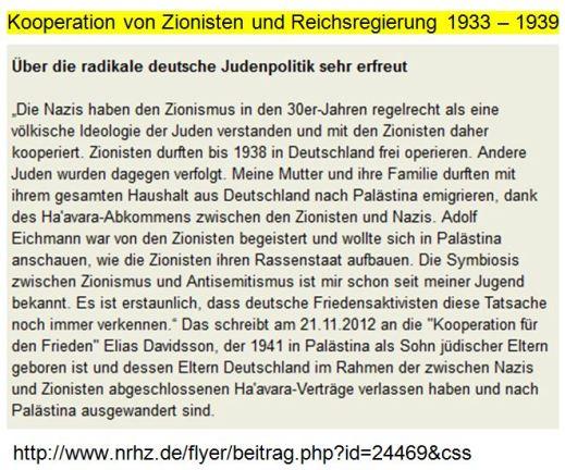 Kooperation Reichsregierung Zionisten 1933ff.