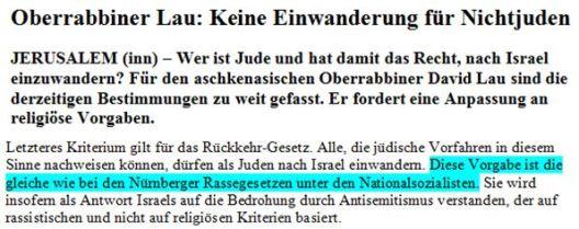 Nürnberger Gesetze Lau Israel