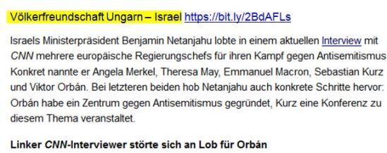 Netanjahu Orban Völkerfreundschaft
