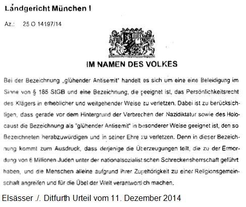 Urteil Elsässer Ditfurth