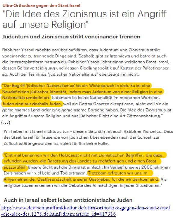 Zionismus ungleich Judentum Rabbiner DLF