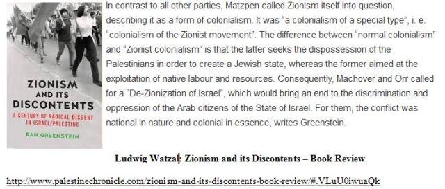 Zionismus Watzal Greenstein