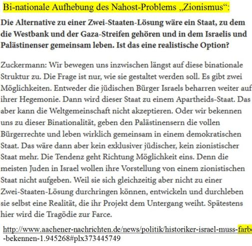Zuckermann Bi-nationale Lösung des Nahostproblems Zionismus