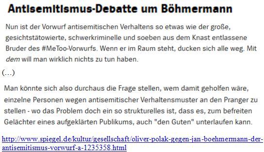 Antisemitismus-Verständnis Pollack Böhmermann Spiegel