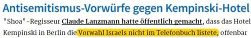 Antisemitismus-Vorwurf Kempinski Lanzmann