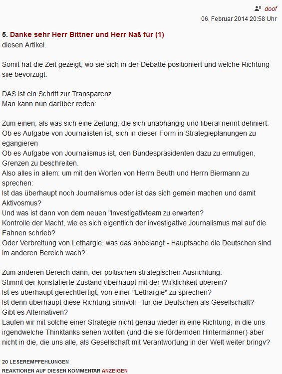 Gauck und Co. in DIE ZEIT Leserbrief
