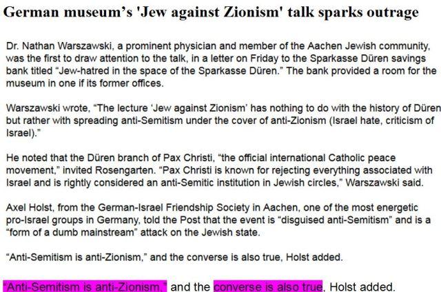 Antizionismus = Antisemitismus Rosengarten Düren