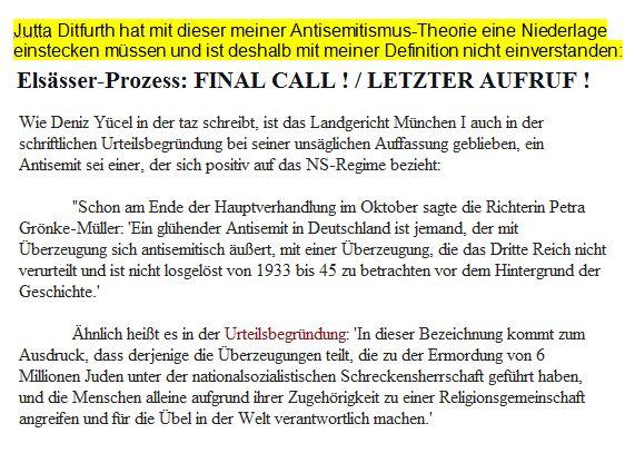Ditfurth Antisemitismusbegriff Begründung