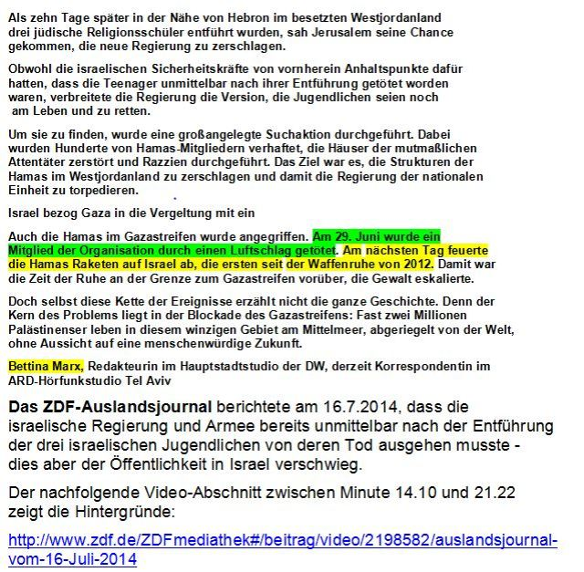 Gaza Konflikt Marx ZDF