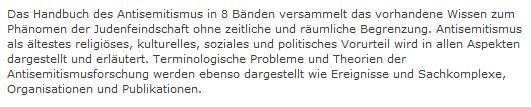 Handbuch des Antisemitismus Benz