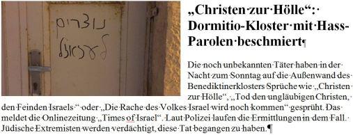 Hass auf Christen Dormition Kloster