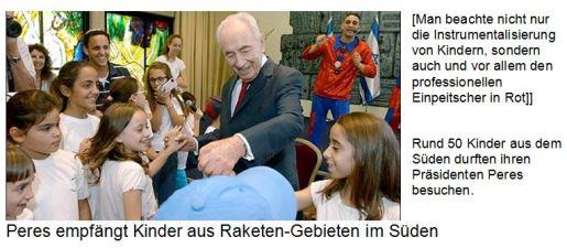 Peres empfängt Kinder aus Raketen-Gebiet