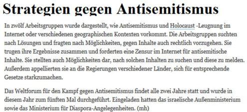 Weltforum gegen AS israel