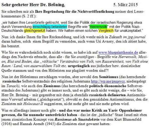 Brief an Bröning 5. märz