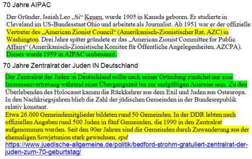 AIPAC und ZJD 70 Jahre