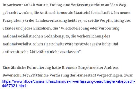 Antisemitismus strafbar in Verfassung