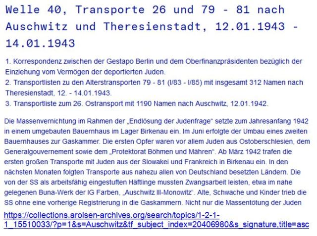 Auschwitz Theresienstadt Welle 40