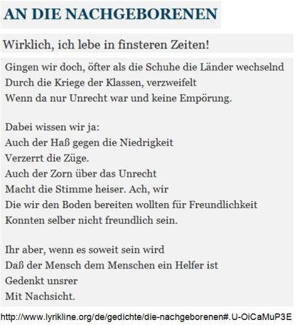 Brecht Hass Nachgeborenen
