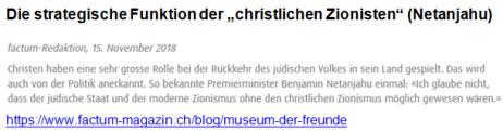 Christlicher Zionismus Netanjahu
