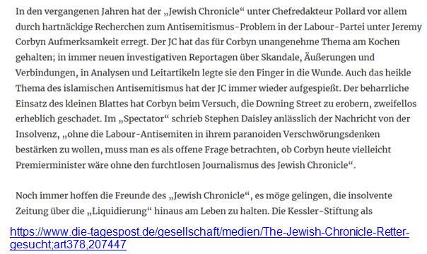 Corbyn Jewish Chronicle Insolvenz