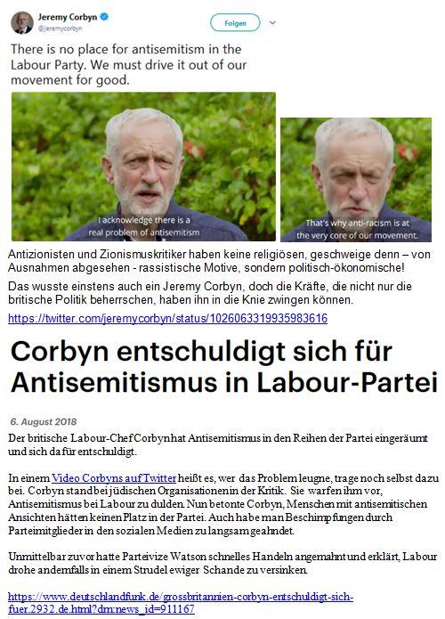 Corbyn Kapitulationserklärung auf Twitter