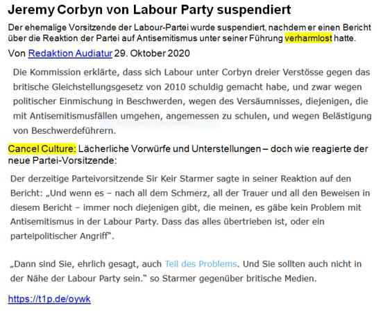 Corbyn suspendiert