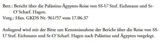 Eichmann Palästinareise Bericht