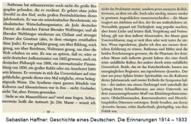 Haffner über Rathenau und Hitler