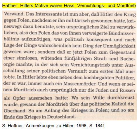 Haffner Hitlers Motive Hass, Mordtrieb