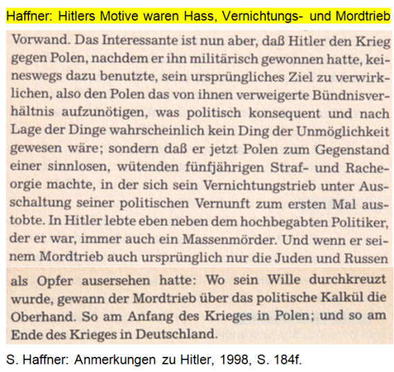 Haffner Hitlers Motive Hass, Mordtrieb