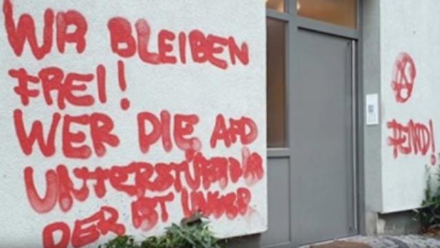 Höcke Antifa Feinderklärung Kemmerling Hauswand