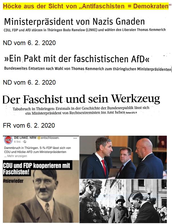 Höcke Schlagzeilen zu Antifaschist = Demokrat