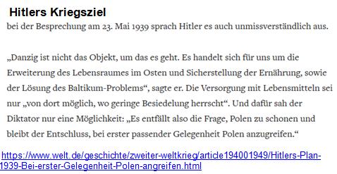 Hitlers Kriegsziel 23. Mai 1939