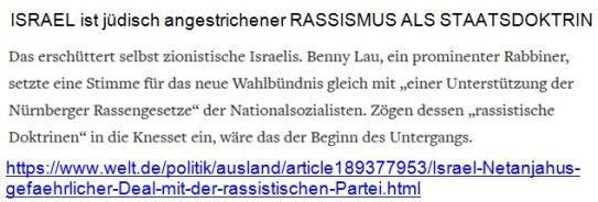 Israel jüdisch angestrichener Rassismus als Staatsdoktrin