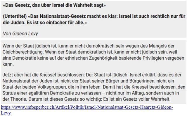 Israel Nationalitätsgesetz Gideo Levy