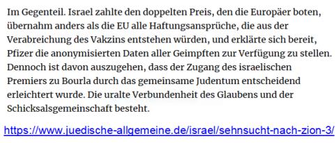 Judenbonus Netanjahu Pfizer